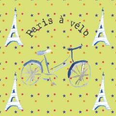 Coupon tissu Paris à vélo 20x20cm (prix mini, prix départ 7€)