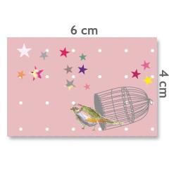 Motif à coudre oiseau cage amour 4x6cm