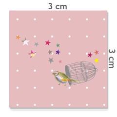 Motif à coudre oiseau cage 3x3cm
