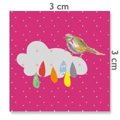 Motif à coudre oiseau nuages 3x3cm