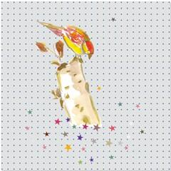 Coupon oiseau étoiles 30x30cm (prix mini, prix départ 12€)