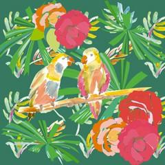 Coupon petits oiseaux exotiques 40x40cm