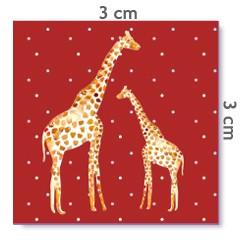 Motif à coudre girafes rouge