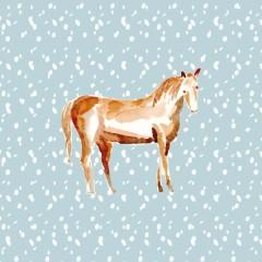 Coupon cheval fond bleu ciel 40x40cm